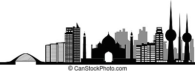kuwait city skyline - kuwait modern city skyline with mosk...