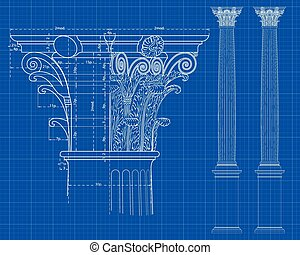 corinthian column - detail of corinthian column with...