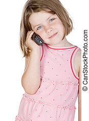 Shot of a Cute Blonde Child Talking on the Phone