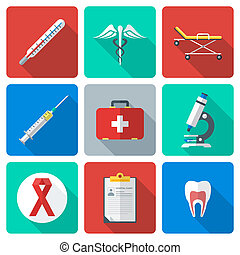flat design medical icons set