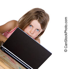 Shot of a Cute Child Peering Over her Laptop