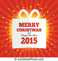 Christmas gift box cut the paper. New year 2015