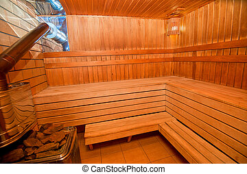 Finnish sauna - Interior of Finnish wooden sauna