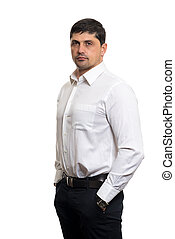Portrait of young man with very handsome face in white...