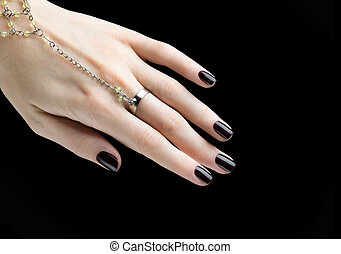 Manicured Nail with Black Matte Nail Polish Manicure with...
