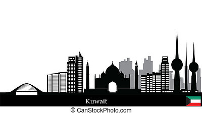 kuwait skyline with landmarks