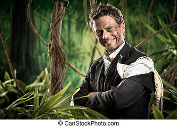 Smiling businessman in business jungle - Attractive...