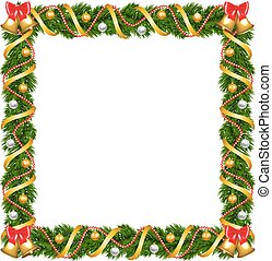 Christmas garland frame with bells and bauble