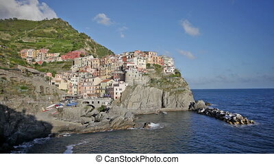 Picturesque view of Manarola, Laguria, Italy in the sunny...