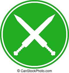 Crossed gladius swords button