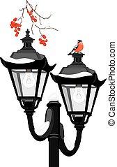 Bullfinch sitting on a lantern
