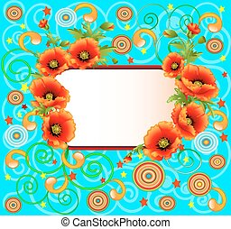 bright background with poppies and swirls
