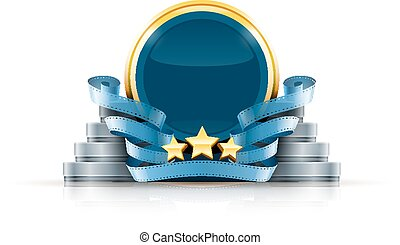 Round logo with stars and cinema films Eps10 vector...