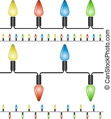 Christmas lights vector template on white background.