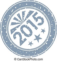2015 new year Ink stamp print isolated on white background.