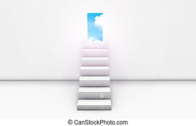 Stairway to Heaven in 3d Concept Background