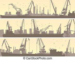 Industrial port with cargo crane. - Set vector horizontal...