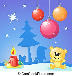 christmas design with xmas balls, candle and bear