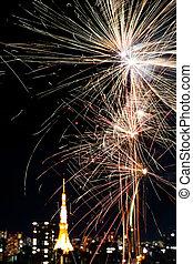 firework upon tokyo tower - firework in japans main city...