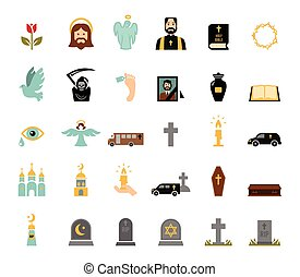 Funeral icons - Death and mourning for deceased ritual...