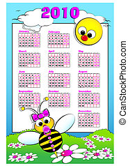 2010 Kid calendar with baby bee