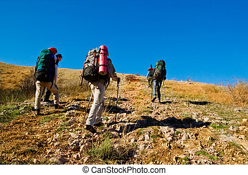 Hikers climbing the mountain - Group of hikers climbing up...
