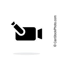Portable camera simple icon on white background.