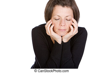 Isolated Shot of a Brunette with her Eyes Shut