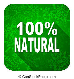 natural flat icon, christmas button, 100 percent natural...