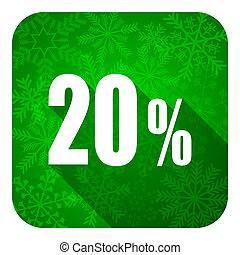 20 percent flat icon, christmas button, sale sign