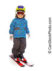 Boy stands wearing mountain skies isolate on white - Small...