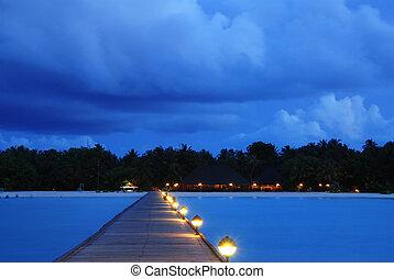 Maldiverna, solnedgång