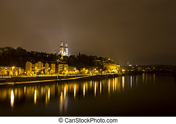 Prague Vysehrad castle at night with reflections in the...