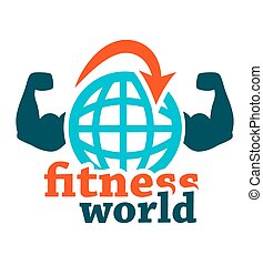 fitness world icon - Fitness icon on white for web and...