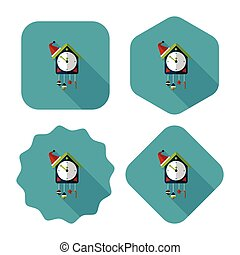 Cuckoo clock flat icon with long shadow,eps10