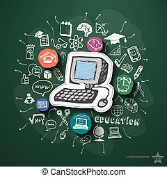Education collage with icons on blackboard Vector...