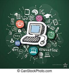 Utbildning, collage, med, ikonen, på, Blackboard,