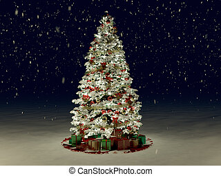 Snow Covered Christmas Tree with Multi Colored Lights at...
