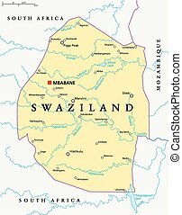 Swaziland Political Map with capital Mbabane, national...