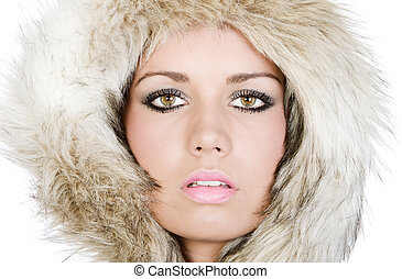 Shot of a Pretty Teenager in Fur Hood
