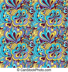 Vector doodle hand drawn seamless floral pattern