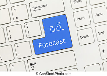 White conceptual keyboard - Forecast (blue key) - Close-up...
