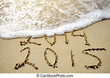 Happy Near Year concept 2015 replace 2014 on sea beach -...