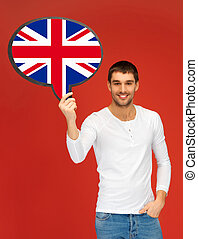 smiling man with text bubble of british flag - education,...