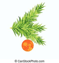 Fir tree branch with toy and paint imitation overlay