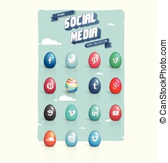 Social media eggs icon set