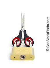 TIED HANDS - A scissor got locked in a padlock.