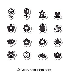 178flower icon - flower vector set