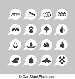 water icons - water nature ecology vector icon set