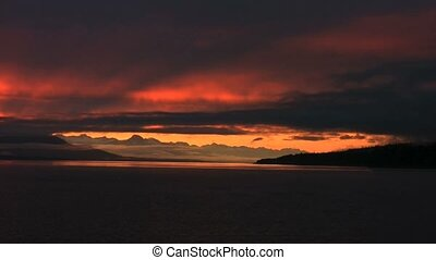 Sunset in Alaska at sea
